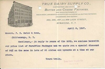 1897 Syracuse NY True Dairy Supply Co Butter & Cheese Factories Letterhead