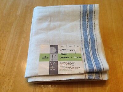 3 Antique Oatmeal Linen & Cotton Towel Blue Stripes SEARS FREE SHIP NWT