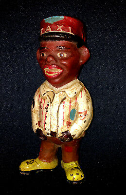 "Black Americana Taxi Man Cast Iron Bank 5"" Tall"