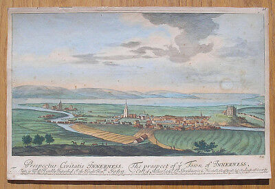 Antique 1693 Inverness Scotland Engraving, Map, Earl of Sutherland, John Slezer
