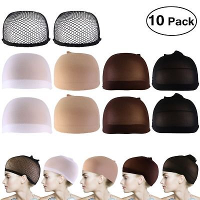 10pcs Wig Cap Wig Liner Wig Stocking Cap Black/White/Brown/Beige Nylon Stretch