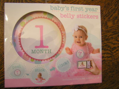 Stepping Stones CR Gibson BABY'S 1st YEAR BELLY STICKERS Girl Milestones~~NIP!!