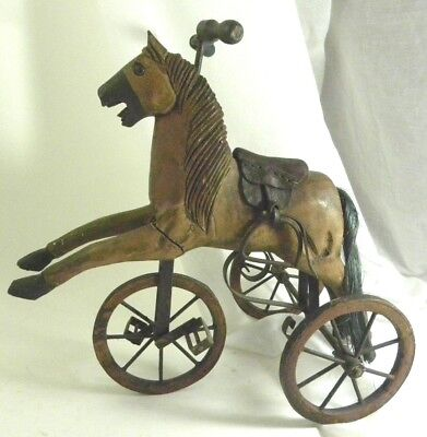 "Vintage Horse on Tricycle, Wood and Metal, 14"" High"
