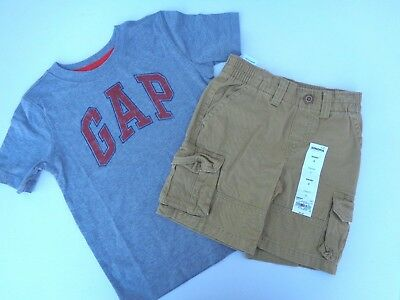 NEW lot of 2 Boys Toddler Clothes GAP logo T-shirt Sonoma Shorts SZ 4T 4-5 Brown