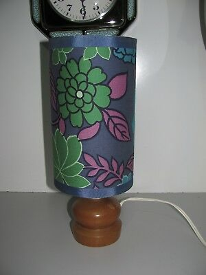 Vintage 70's Danish Style Timber Base Floral Cylinder Lamp In Good Condition
