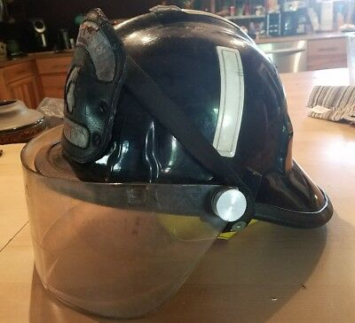 Vintage Cairns and Brother Fire Helmet w/ Bourkes & Leather Front* Columbus *