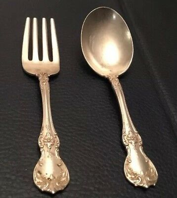 Towle Old Master Sterling Silver matching Baby Fork and Spoon Set