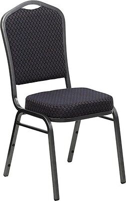 10 PACK Banquet Chair Black Pattern Fabric Restaurant Chair Crown Back Stacking