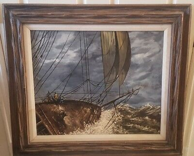 Antique Ship Oil Painting Canvas 18Th To Early 19Th Century Sighned Maestretti