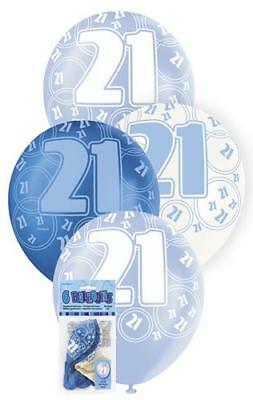 6 Glitz 21st Birthday Decorations Latex Helium Balloons Blue White Party 80883