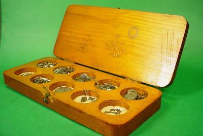 Vintage Antique Clock Watch Movement Parts In Wood Box