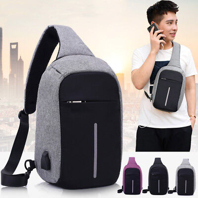 USA Men Casual Single Shoulder Cross Body Anti Theft Travel Chest pack Sling Bag
