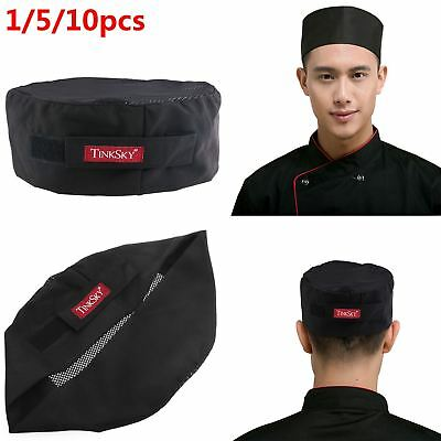 TINKSKY 1/5/10PCS Professional Top Skull Cap Catering Chefs Cook Hat AU Stock