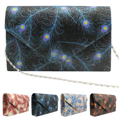 ced9a7879fd6 Ladies Bags Peacock Feather Prom Clutch Party Wedding Evening Shoulder  Handbags