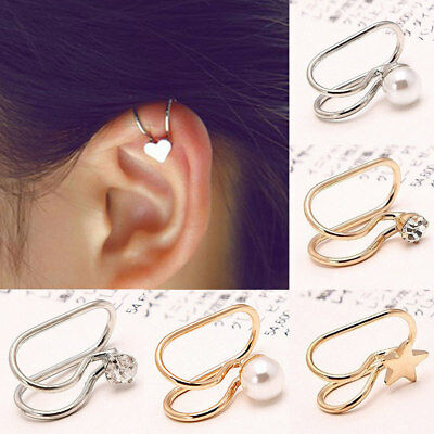 Womens Ear bone cuff pearl top earring gift bone gold clip cartilage upper wrap