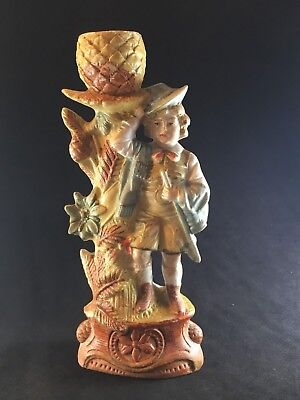 Vintage Porcelain Bisque Figurine Candle Holder Painted Germany