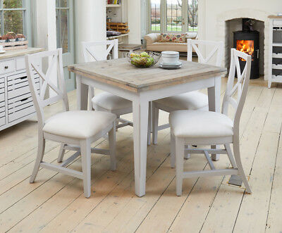 Baumhaus Signature Square Extending Dining Table - Solid Wood Distressed Grey