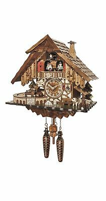 Quartz Cuckoo Clock Black forest house with music and dancers EN 48710 QMT NEW
