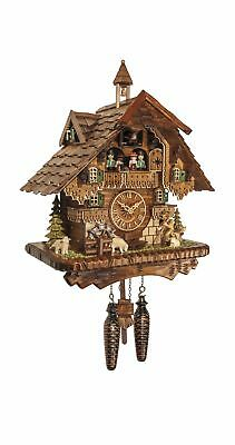 Quartz Cuckoo Clock  Black forest house with music and dancer.. EN 46212 QMT NEW