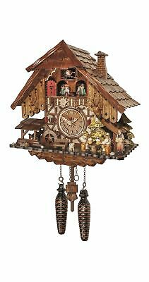 Quartz Cuckoo Clock Black forest house with music and dancers EN 48717 QMT NEW