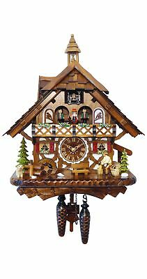 Quartz Cuckoo Clock Black Forest house with moving wood choppe.. EN 4491 QMT NEW