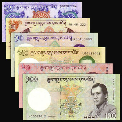 Bhutan Set 6 PCS,  1 5 10 20 50 100 Ngultrum, P-27-32, UNC