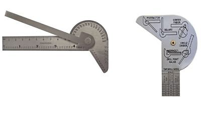 Stainless Steel Multi Use Protractor Ruler Center Square Divider Drill Point New