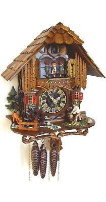 Cuckoo Clock Black Forest house with moving wood chopper and .. SC MT 6667/9 NEW