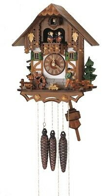 Cuckoo Clock Black Forest house with moving wood chopper and .. SC MT 6563/9 NEW