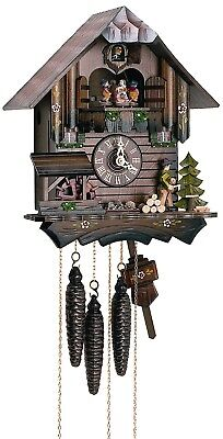 Cuckoo Clock Black Forest house with moving wood chopper and .. SC MT 405/10 NEW