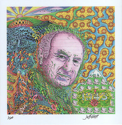 Albert Hofmann By Jeff Hopp  - Signed And Numbered Blotter Art Lsd Inventor 100
