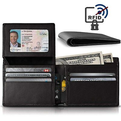 Mens Trifold Wallet Genuine Leather Card Case ID Holder Window Billfold Gift Box