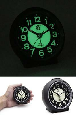 Silent Tick Alarm Clock Night Glow Bedside Travel Quartz Movement Large Numbers