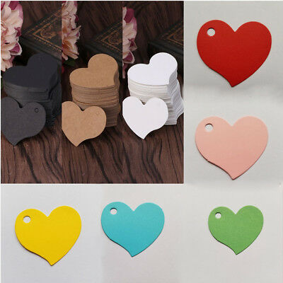 100 Pcs Heart Shape Blank Kraft Paper Card Gift Clothing Tag DIY Label Decor CA