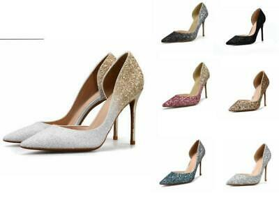 Fashion Womens Glitter Shoes Slip On High Heel Bridal Party Evening Courts d06-l