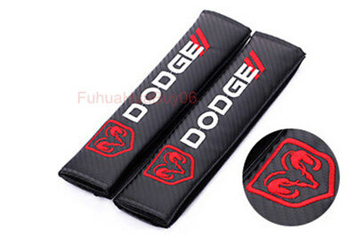 2x Car Auto Seat Safety Belt Pad Cover Shoulder Strap Cushion Logo For DODGE