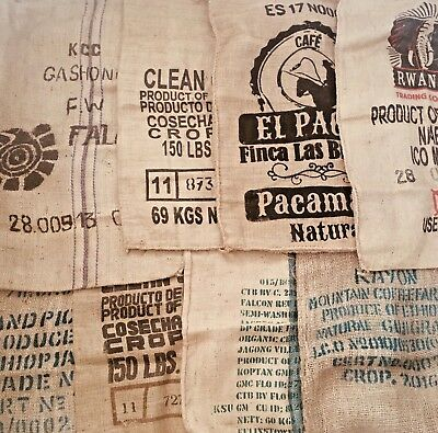 Various Used Hessian Coffee Sack DIY Fabric Craft Burlap Reupholustery Project