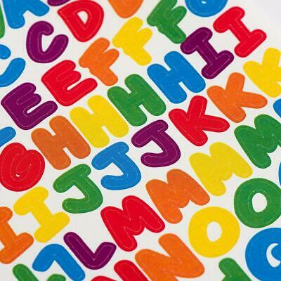 200 x Rainbow Alphabet Letters Peel Off Stickers Upper Case Lower Case Numbers