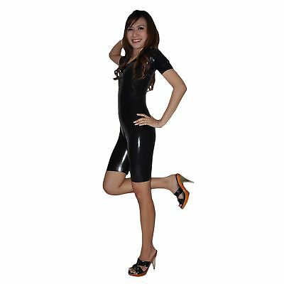 Brand New Latex Rubber Black Short Sleeved Catsuit Body Suit (one size)