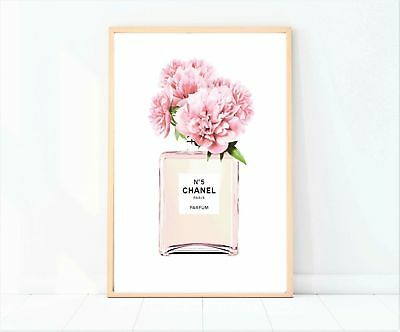 coco chanel pink perfume bottle with flowers print/poster