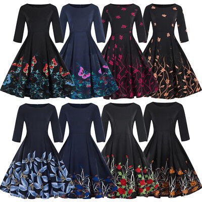 Retro Women s Vintage 50 s Audrey Style Rockabilly Swing Party Cocktail  Dress e3cc42b8f0bd