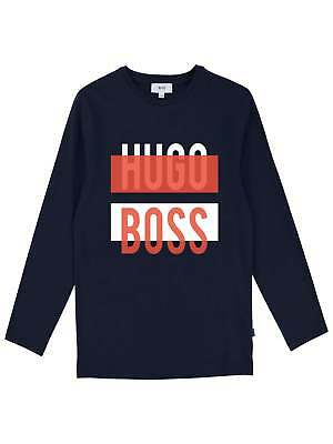 Hugo Boss Boys Navy Blue Long Sleeve Logo T-Shirt