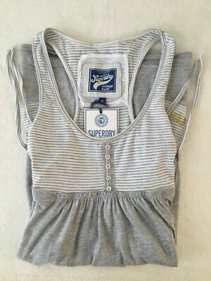 Superdry Thrift Stripey Dress in 'Grey & White' (UK S) (RRP £29.99) 20% Disc