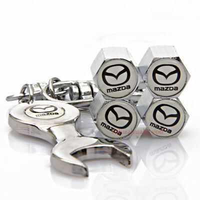 Car Tire Valve Caps Air Valve Dust Cover Wrench Keychain For Mazda 3 6 CX-4 MX-5