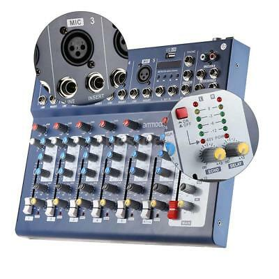 7 Channel F7-USB Mic Line Audio Sound Mixer Mixing Console 48V 3 Bands EQ A7M6