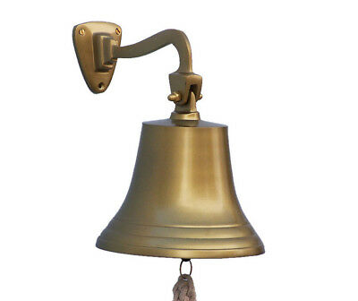 "Antiqued Brass Finish Solid Aluminum Ship's Bell 6"" Nautical Hanging Wall Decor"