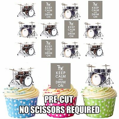 PRECUT Drums 12 Edible Cupcake Toppers Decorations Cake Birthday Mens Boys Girls