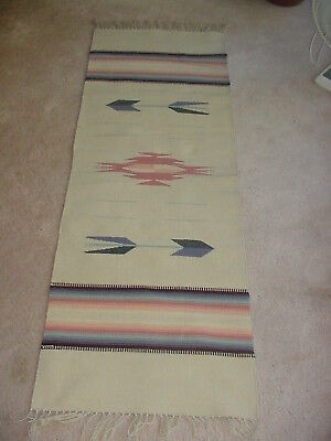 Beautiful Chimayo Indian Blanket Rug Runner 60 By 20 Inches