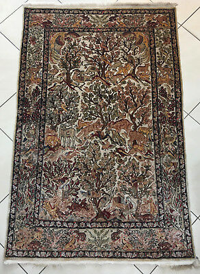 alter Seidenteppich Hereke 149 x 95 cm -tappeto vieux tapis old rug alfombra