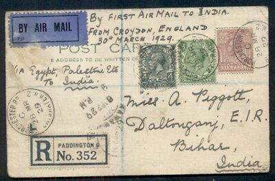 GREAT BRITAIN 1929 First Flight LONDON-KARACHI INDIA registered card, VF